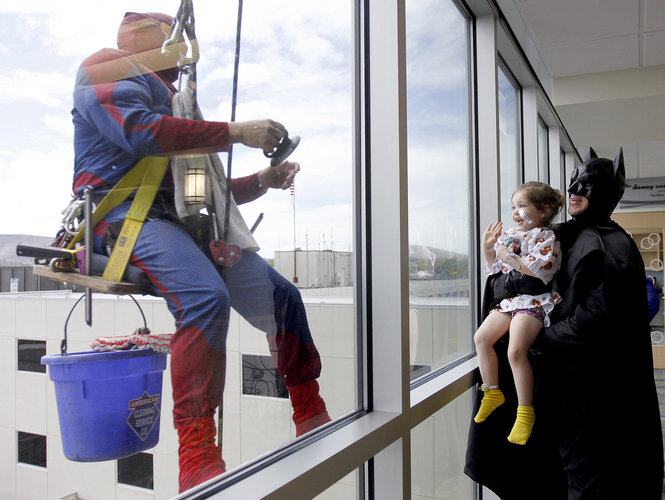 "Sparkling Clean Windows ""Superheroes' at Kadlec Pediatric wing"